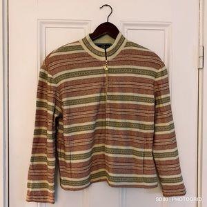 St. John Metallic Striped Zip Up Knit Jacket